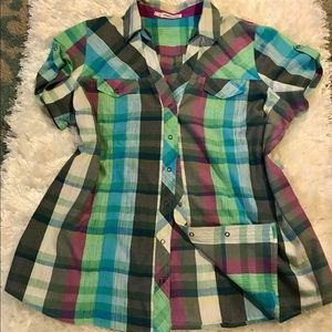 MAURICE SNAP BUTTON VIBRANT PLAID SIZE 1